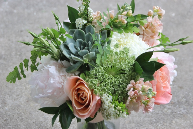bridesmaids flowers maid bouquet wedding party sophisticated floral succulet peony stock football mum lisianthus spirea ruscus maidenhair fern