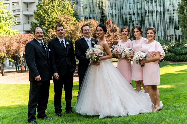 bridal party wedding flowers downtown portland wedding sophisticated floral