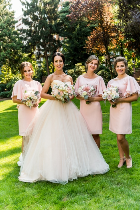 bride and bridesmaids bouquets sophisticated floral