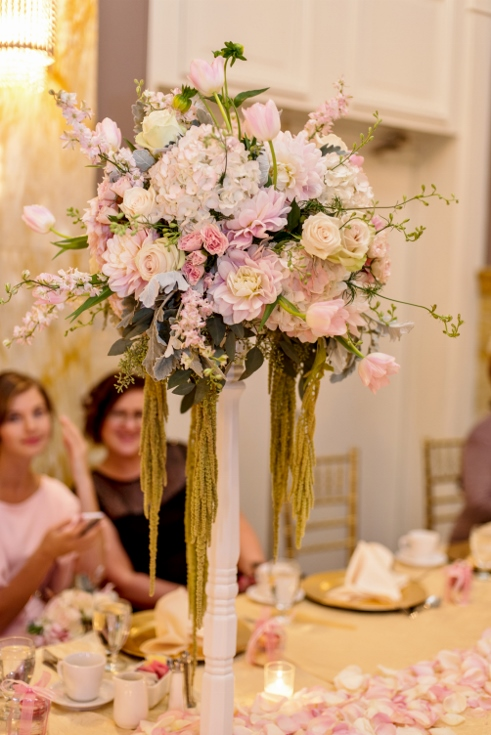 elevated tall centerpieces blush pink gold sophisticated floral
