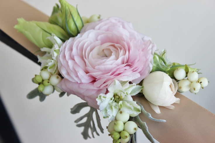 wrist  corsage ribbon modern design ranunculus blush sophisticated floral