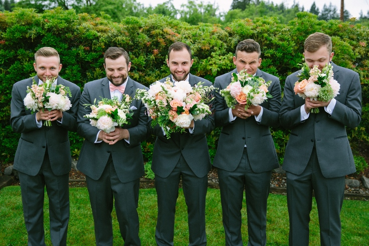 guys and bouquets bridal party groomsmen sophisticated floral