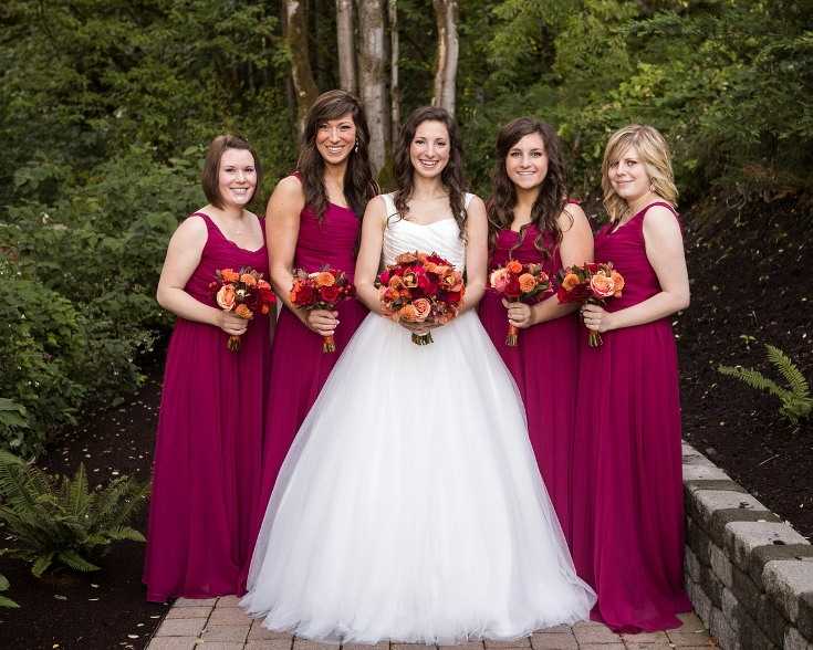 bridal party bridesmaids burgundy dress bouquets sophisticated floral