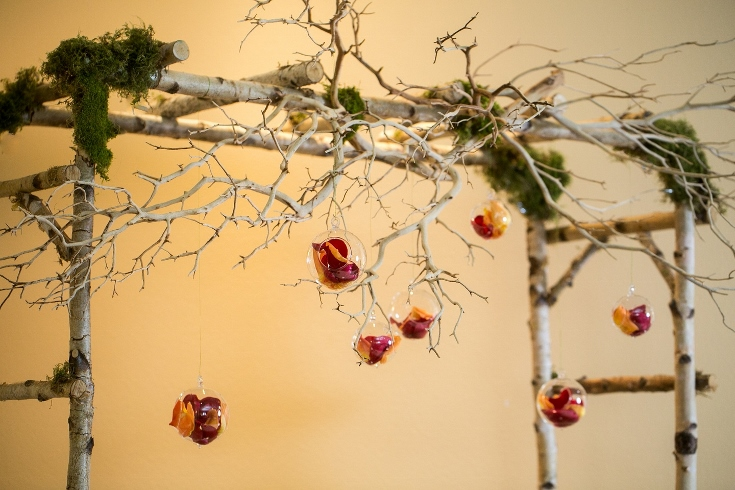 birch arbor manzanita branches hanging glass orb