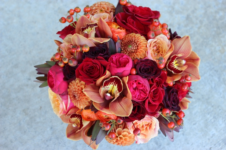 fall autumn orange red garden rose bouquet sophisticated floral