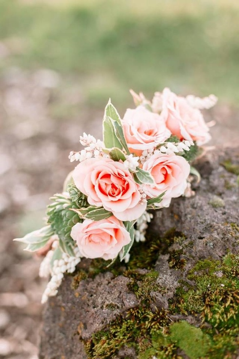 floral crown with roses, succulent and pieris sophisticated floral designs