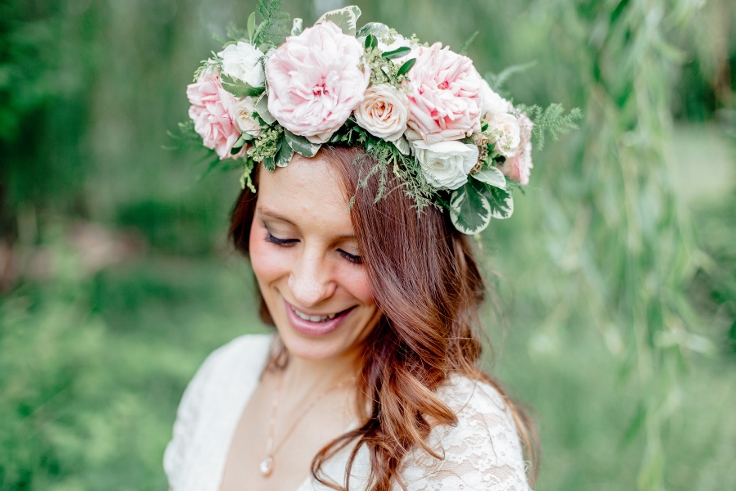 garden roses floral crown by sophisticated floral designs