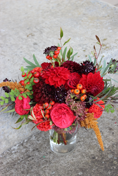 garden roses dahlia fall bouquet sophisticated floral designs portland oregon wedding florist