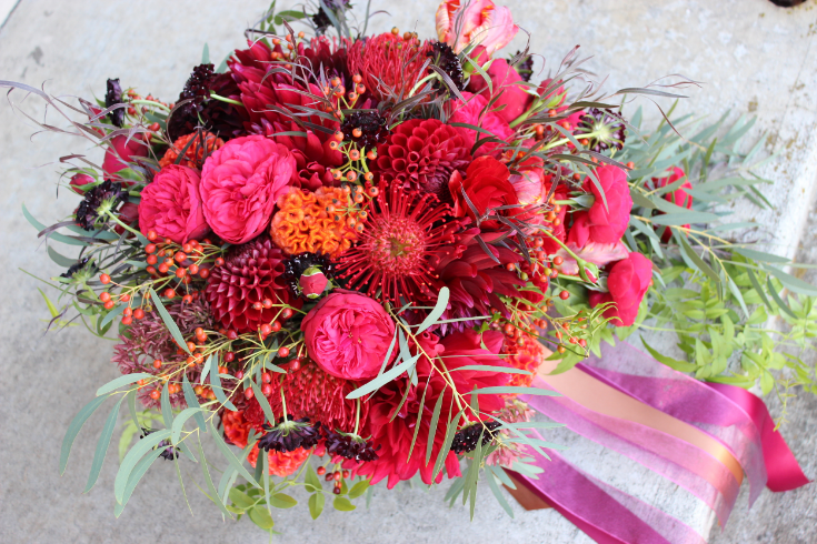 lush fall bridal bouquet cascade garden style sophisticated floral designs portland oregon wedding florist