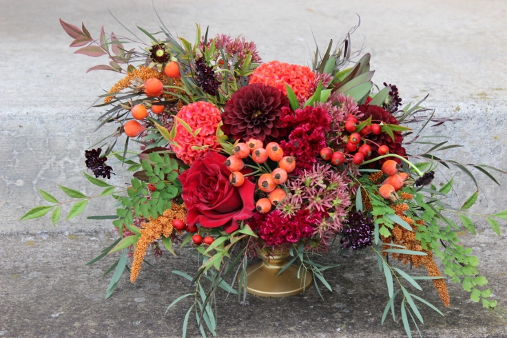 fall floral centerpiece flower arrangement sophisitcated floral dahlia garden roses berries