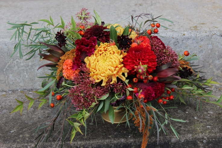 fall red orange centerpiece sophisticated floral designs portland oregon