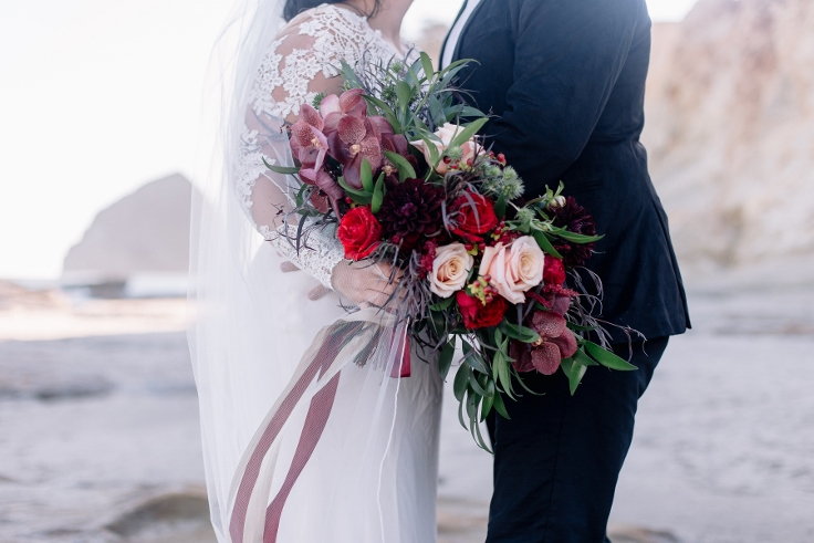 boho dark bridal bouquet red burgundy black sophisticated floral