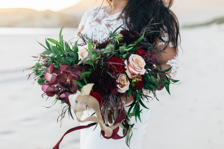 sophisticated floral designs bridal bouquet red marsala blush burgundy boho style garden style