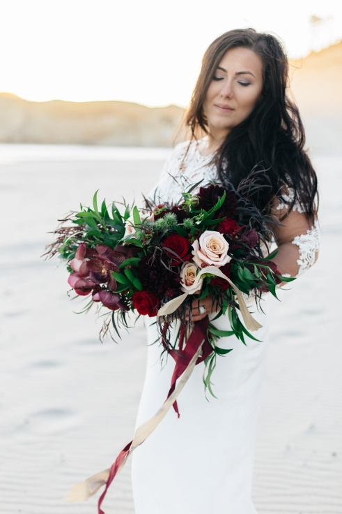 bobo bohemian style bridal bouquet marsala blush gold black dark bouquet by sophisticated floral portland oregon