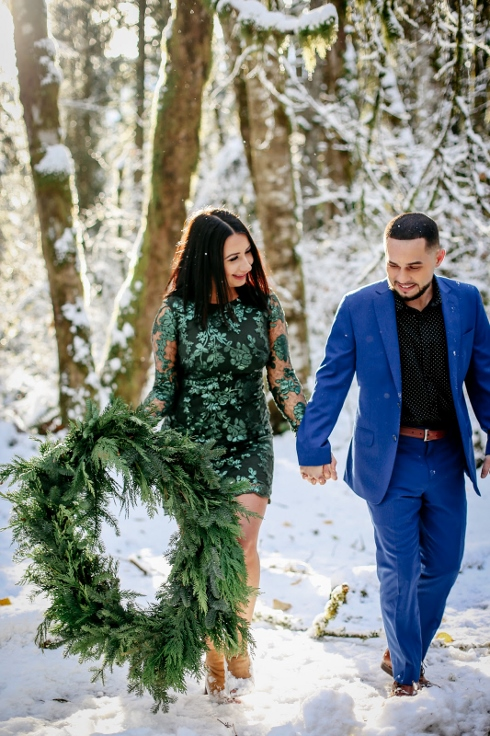 winter engagement spotted stills sophisticated floral christmas wreath