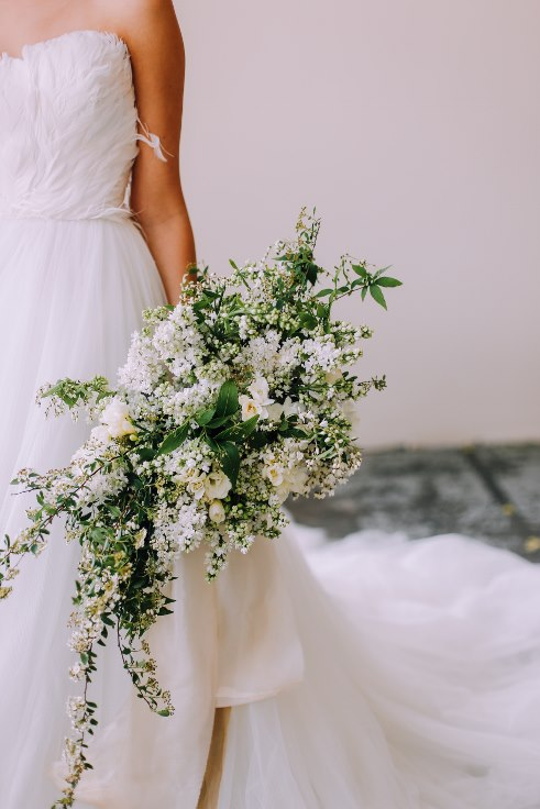 white garden style large bouquet with white lilac sophisticated floral portland oregon