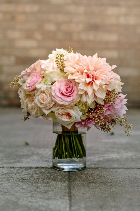 sophisticated floral designs Abernathy Center blush and gold wedding bridal bouquet