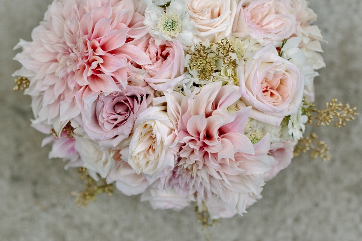 sophisticated floral designs Abernathy Center blush and gold wedding bouquet cafe dahlia garden roses