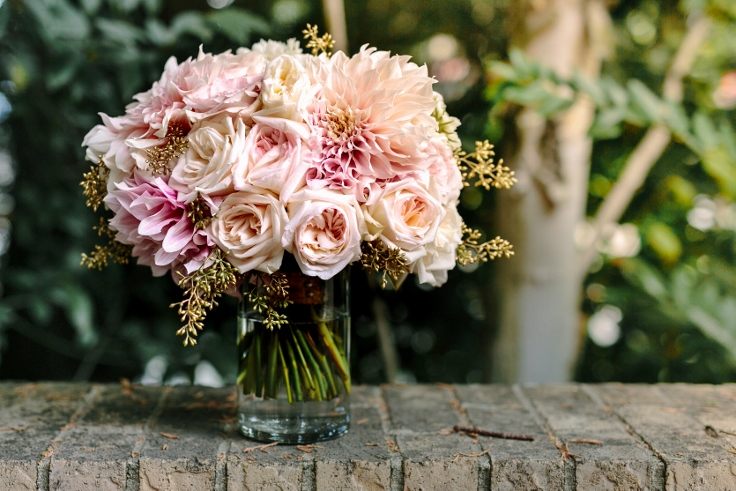 sophisticated floral designs bridal bouquet blush and gold