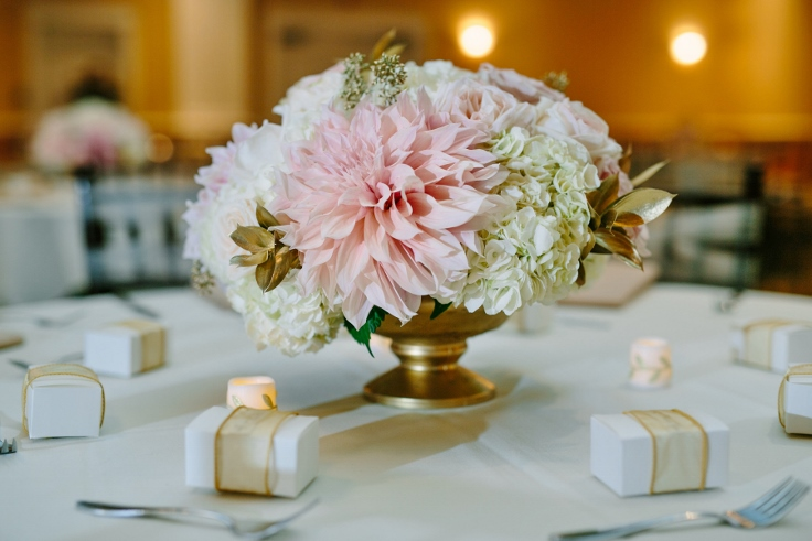 modern indian wedding centerpiece sophisticated floral abernethy center gold blush dahlia garden roses