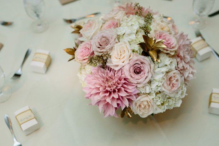 blush and gold centerpiece sophisticated floral cafe aulait dahlia garden roses