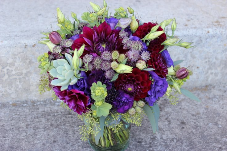 bridal bouquet sophisticated floral designs portland oregon wine country wedding purple dahlia