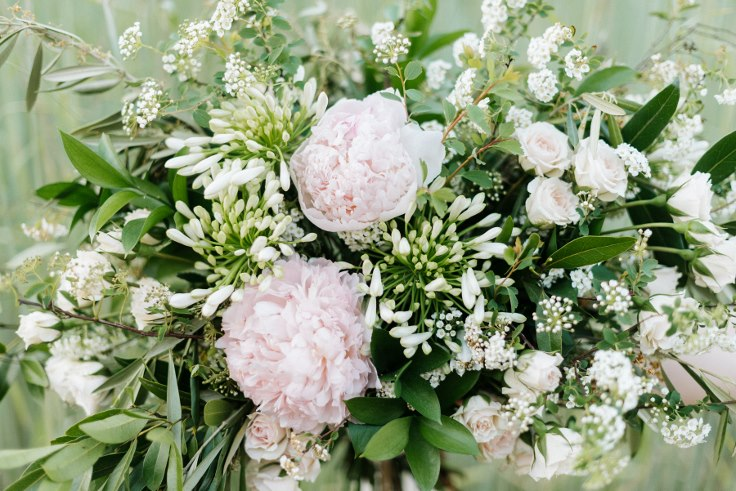 bespoke style bridal bouquet spring flowers sophisticated floral designs portland peony olive spirea roses