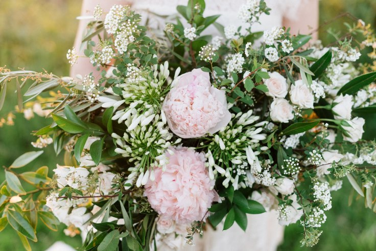 peony bridal bouquet blush pink and ivory white flowers and foliage sophisticated floral portland oregon