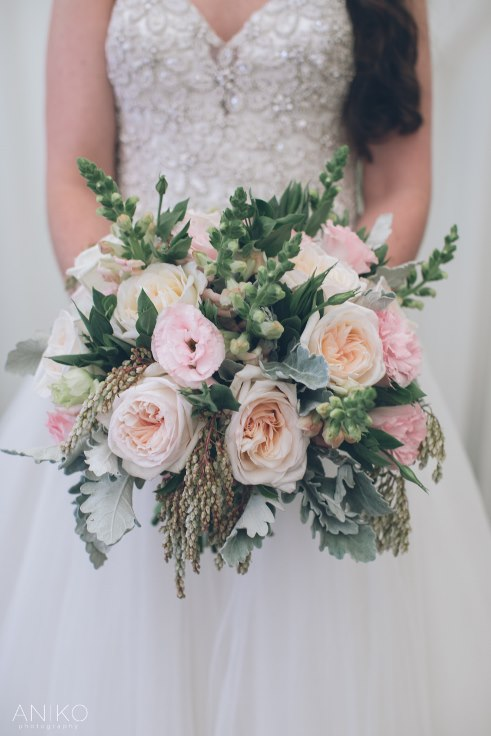 blush pink and gray bridal bouquet with garden roses and ranunculus by sophisticated floral portland oregon