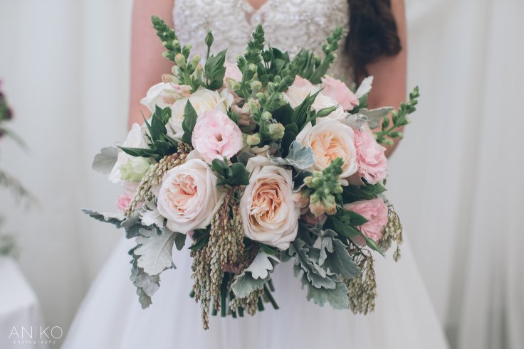 sophisticated floral bridal bouquet blush pink garden roses
