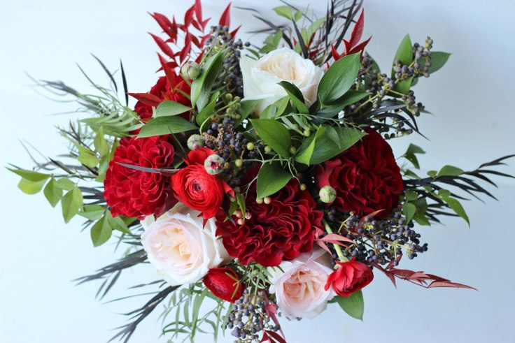 fall wedding bouquet gaden style navy and burgundy sophisticated floral designs portland oregon
