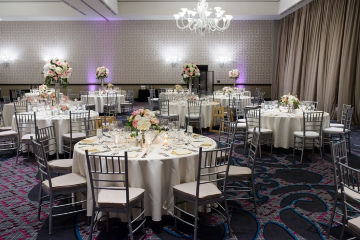 sophisticated floral designs portland oregon wedding florist Nines Hotel elegant ballroom wedding