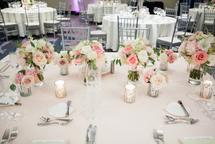 sophisticated floral designs portland oregon wedding florist Nines Hotel head table flowers