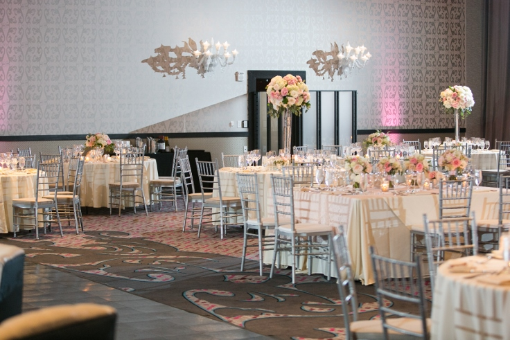 sophisticated floral designs portland oregon wedding florist Nines Hotel ballroom wedding flowers