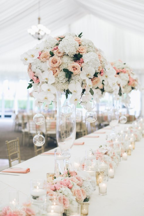 sophisticated floral designs portland oregon wedding florist-oregon-golf-club-wedding-aniko luxury wedding flowers over the top florals blush and gold wedding decor head table flowers garland candles