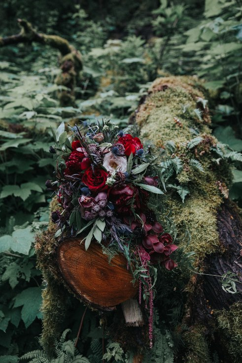 sophisticated floral designs portland oregon wedding florist oregon elopement dark moody burgundy flowers bridal bouquet