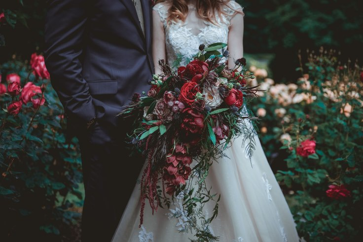 sophisticated floral designs portland oregon wedding florist burgundy red wedding flowers cascade bouquet moden organic peony bouquet