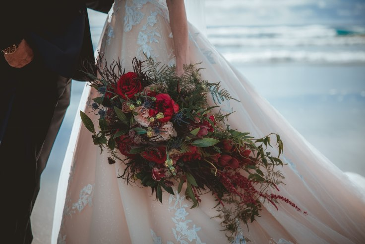 sophisticated floral designs portland oregon wedding florist burgundy cascade bouquet dark and moody wedding blooms peony bouquet