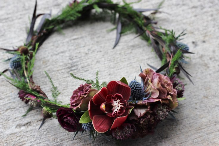 sophisticated floral designs portland oregon wedding florist-floral crown halo flowers to wear floral wreath dark and moody wedding