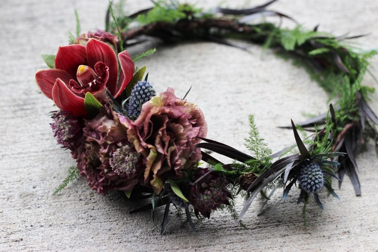 sophisticated floral designs portland oregon wedding florist elopement floral crown dark and moody wedding flowers
