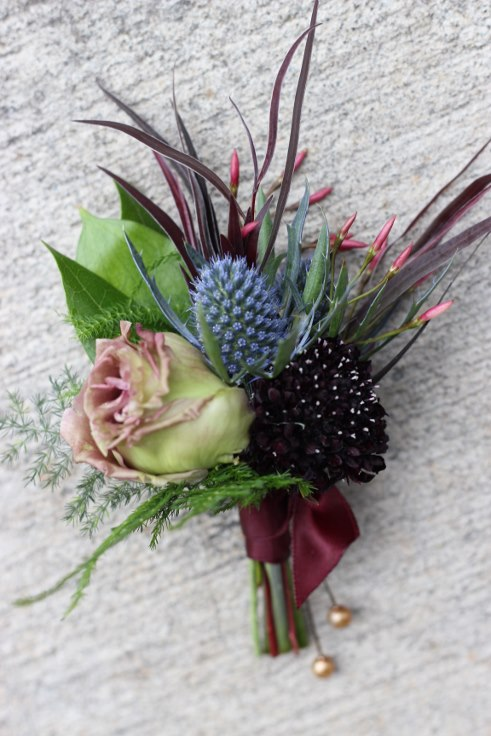 sophisticated floral designs portland oregon wedding florist dark and moody weding boutonniere burgundy navy