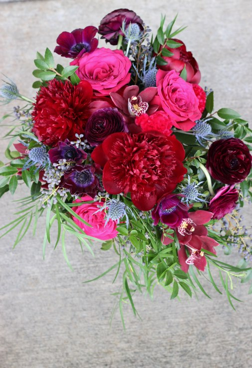 sophisticated floral designs portland oregon wedding florist plum wine purple burgundy navy bridal bouquet with peony ranunculus anemone eryngium orchids
