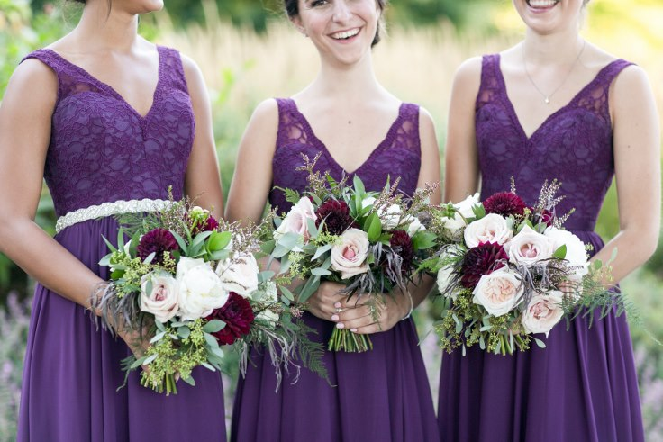sophisticated floral designs portland oregon wedding florist sentinel hotel george street photo bridal bliss wedding planning plum and blush pink wedding bouquet dahlia bridesmaids