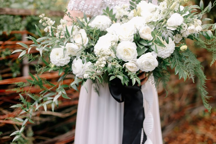 sophisticated floral designs portland oregon wedding florist mcmenamins edgefield spotted stills photography large white boho bridal bouquet
