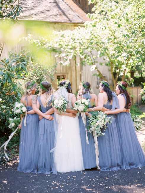 sophisticated floral designs Mcmenamins Roadhouse bridal party bridesmaids floral crowns bouquets