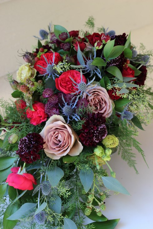 sophisticated floral designs portland oregon wedding florist dark moody bridal bouquet