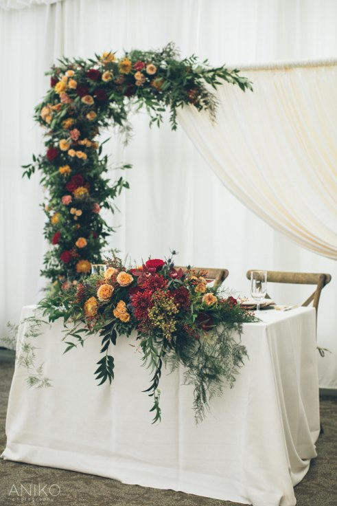 sophisticated floral designs portland oregon wedding florist oregon golf club aniko productions sweetheart table wedding arbor
