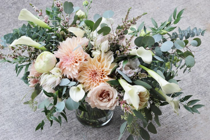 sophisticated floral designs portland oregon wedding florist blush dahlia bouquet abernethy center (1).jpg