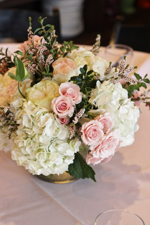 sophisticated floral designs portland oregon wedding event florist baby shower bridal shower flowers blush pink roses hydrangea low centerpiece