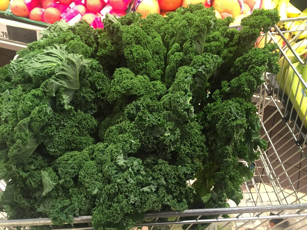 Yes, thats a grocery cart filled with kale, beautiful isn't it?